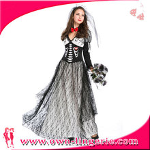 free shipping Corpse Bride halloween costume,Spiritual Love fancy dress,full length ghost skull costume,halloween cosplay dress