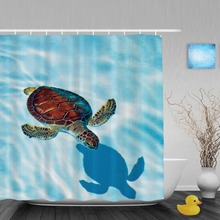 Baby Turtle In The Water Bathroom Shower Curtain Cute Sea Creatures Shower Curtains Waterproof Mildew Polyester Fabric With Hook