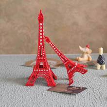 18cm Red Painted Eiffel Tower Model With Rhinestone Party Decor(China)