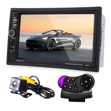 "7"" Touch Screen Car Bluetooth Audio Stereo MP5 Player with Rearview Camera FM Transmitter GPS Navigation Wheel Remote Control"
