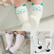 Baby knee high socks Boy Girl Long Sock Newborn Toddler Cartoon Cat anti slip leg warmers Cotton Infant Tube Socks Autumn Winter