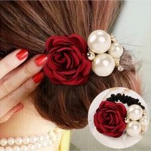 New Flocking Cloth Red Rose Flower Hair Clip Hairpin Headdress Hair Accessories Wedding jewelry For women 7colors Free shipping(China)