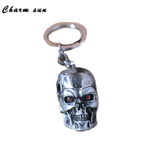 Movie Theterminator 3d Skull Head Shape Alloy Keychain Pendant Zinc Alloy Pendant Fashion Keyring For Men Gift Jewelry Souvenirs