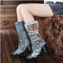 Women Brand  Denim Fashion Bling Rhinestone Long Boots Thick Heels Side Zip Cowboy Boots European Style 2016 New Design Boots