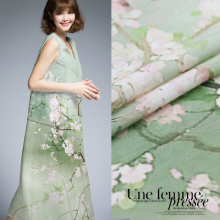 1.18meter,50% silk 50% hemp stretch fabric nature pure charm use silk print fabric for dress bedding(Peach blossom)