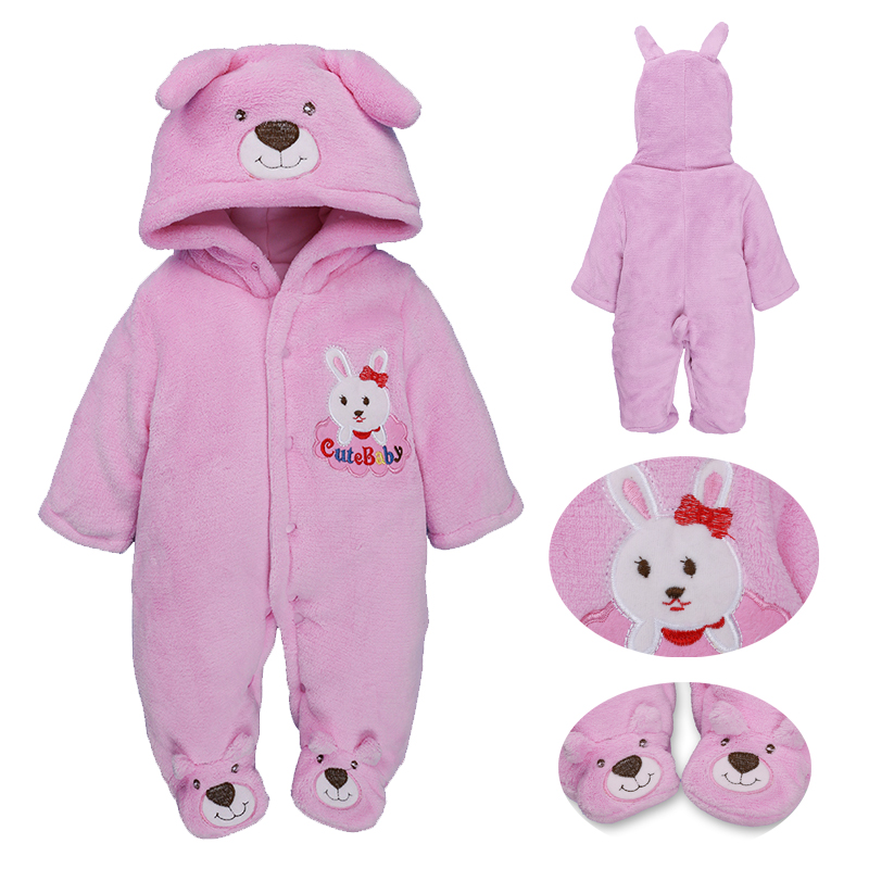 winter baby costume Thicken newborn baby boy girl cartoon rabbit dog bear hooded romper cotton+fleece warm Infant bebes jumpsuit