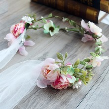 New Fashion Wedding Bridal Flower Tiara Crown With White Veil Bride Hair Ornaments Women Pageant Prom Hair Jewelry Accessories