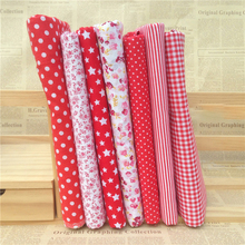 Hoomall 7PCs/set 25*25cm Red DIY Patchwork Fabrics For Sewing The Cloth Baby Quilting Cotton Fabric For Needlework(China)