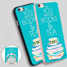 need books and tea  Holder Soft TPU Silicone Phone Case Cover for iPhone 5 SE 5S 6 6S 7 Plus