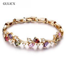 GULICX 5 colors Latest Design New Trendy Gold-color Bracelet for Ladies Multi-color Cubic Zircon Women's Bracelets Gift(China)