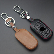 Car Genuine Leather Bag Remote Control Car Keychain Key Cover Case For Buick Envision 3Buttons Smart Key  L1135