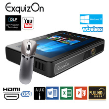 Exquizon smart 3 Windows 10 OS Miracast DLP Projector 1280*720 32G WiFi HD touch proyector Tablet Projector 2 In 1 Home theater(China)
