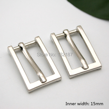 Wholesale 15mm fashion zinc alloy metal buckle with pin shinny silver nickle belt bucke high polished BK-052(China)