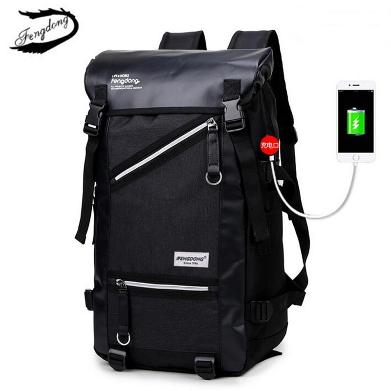 Fengdong Men Travel Backpack Outdoors Mountaineering Waterproof Backpack Oxford School Bag Male Large Capacity Casual Mochila<br>