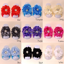 Baby Barefoot Sandals with chiffon Flower Rhinestone Center 30set/lot QueenBaby Trail  Order