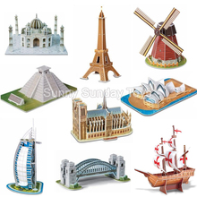 SST* Mini Magic world Architecture Eiffel Tower Statue of Liberty card paper 3d Puzzle building models educational toys Kids