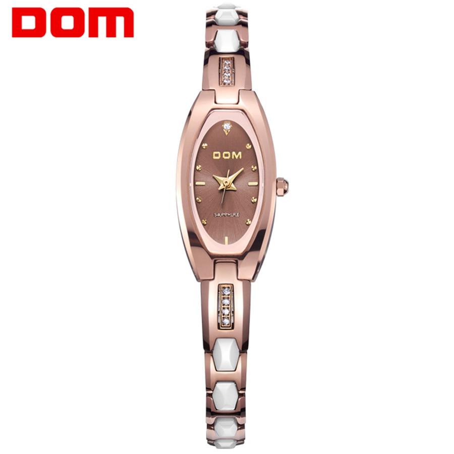 DOM Luxury Quartz Tungsten steel Women Watches Designer Woman Wristwatch Rhinestone Ladies Watch Bracelet Relogio Feminino 2018<br>