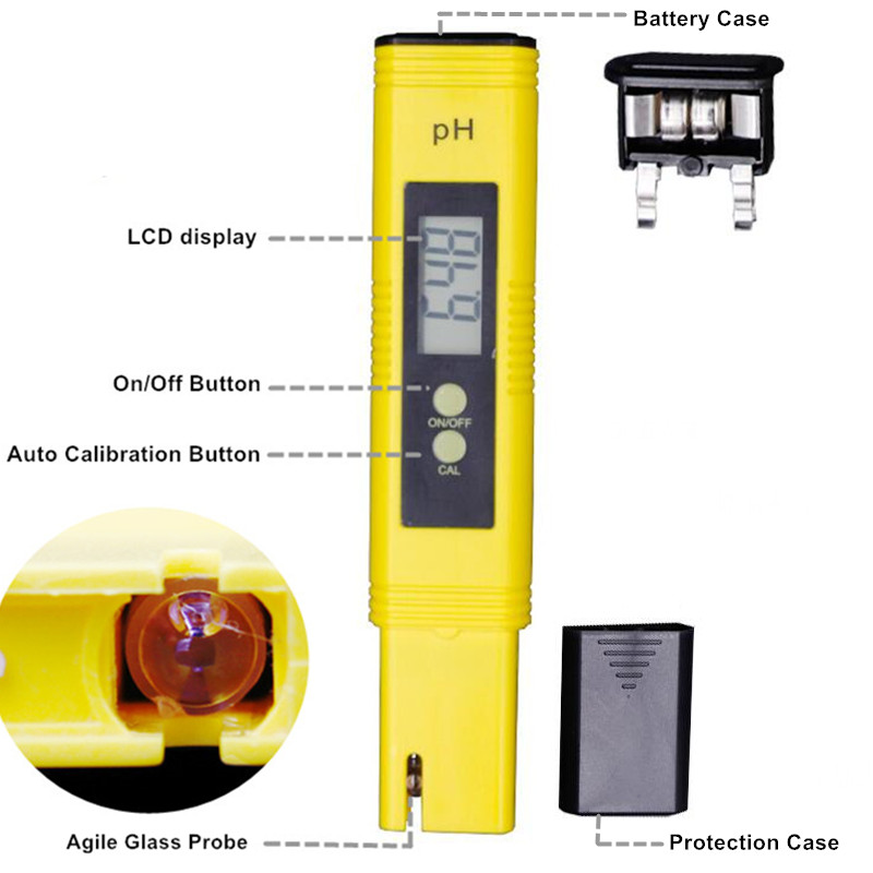 100pcs/lot Protable LCD Digital PH Meter Pen of Tester accuracy 0.01 Aquarium Pool Water Wine Urine automatic calibration %off 14