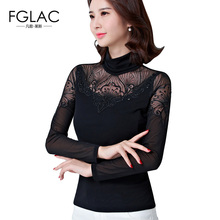 Buy FGLAC Women blouses New Arrivals 2017 Autumn long sleeved Turtleneck Mesh tops Elegant Slim Diamonds plus size women clothing for $12.69 in AliExpress store