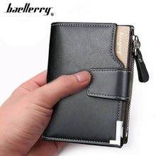Baellerry Leather Men Wallets Zipper Coin Pocket Sample Solid Men Leather Wallet Card Holder High Quality Male Purse cartera(China)