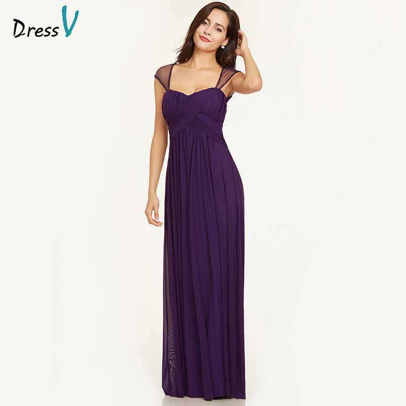Dressv purple evening dress cheap square neck a line cap sleeves floor length wedding party formal dress evening dresses
