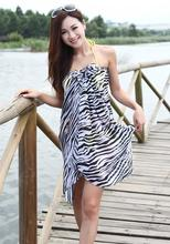 New 2014 Brand New Women's Stylish Swimsuit Pareo Zebra Pattern Chiffon Beach Scarf Towel Cover Up White and Black Free Shipping