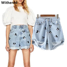 Withered denim shorts women harem high waist shorts vintage embroidery of Mickey cartoons hole denim short for women plus size(China)
