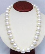 "10mm White AAA South Sea Shell Pearl Round Beads Necklace 25"" LL009 ^^^@^Noble style Natural Fine jewe FREE SHIPPING"