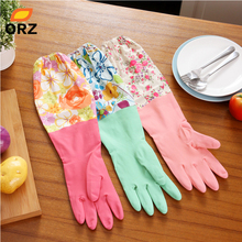 ORZ Kitchen Cleaning Latex Gloves Household Warm Durable Waterproof Dishwashing Glove Water Dust Stop Cleaning Rubber Tools(China)