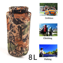 8L Camo Dry Pouch Bag Men's Backpack Nylon PU Outdoor Camping Climbing Bag Drifting Hiking Backpacks For Outdoor Travel(China)