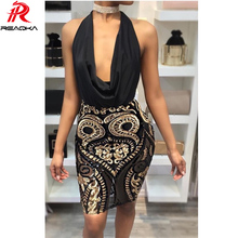 Buy Reaqka Women Elegant Sequin Dress 2018 Sexy Bandage Summer Dress Bodycon Mesh Beach Short Halter Black Party Dresses HL Vestidos