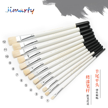 ART Paint Brush white handle flat wool head brush oil acrylic Gouache watercolor painting brush AHB003