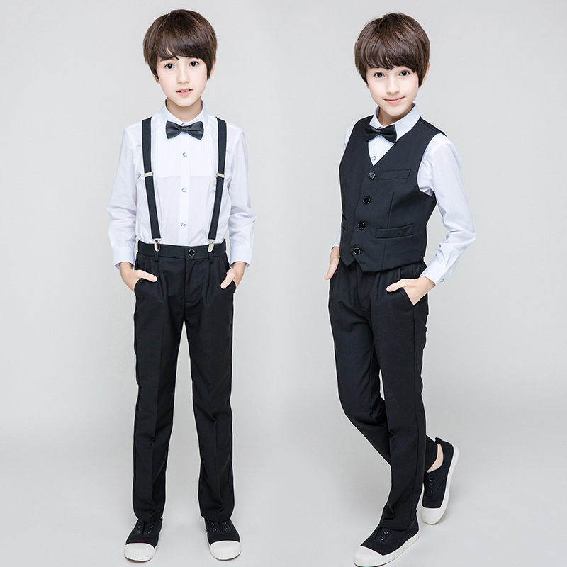 Autumn Boys Suit Jacket+Shirt+Pants+Vest Student Boys Formal Holiday Costume 2019 Boys Boutique Kids Clothing Clothes RKS194013