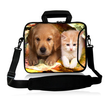 "Neoprene Sling Sleeve Bag10""13""14""15""17""Computer Kits Friendly Cat And Dog Type Laptop Baldric Shoulder Cover Pouch For  IBM HP"