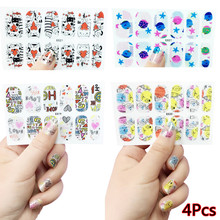 4Pcs/Set Summer DIY Carttoon Design Self Adhesive Nail Sticker Ocean Fishes Wraps Watermark Fingernails Decal China