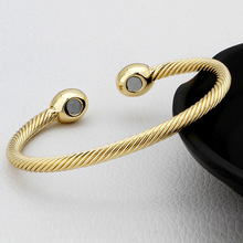 Vintage Gold/Rose gold/Silver Color Pure Copper Magnetic Health Energy Bangle Twisted Chain Round Bracelet Healing for Men/Women(China)