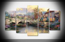 9897 Thomas Kinkade modern nordic poster painting wall art prints for living room home 5 pieces oil paint print framed gallery(China)