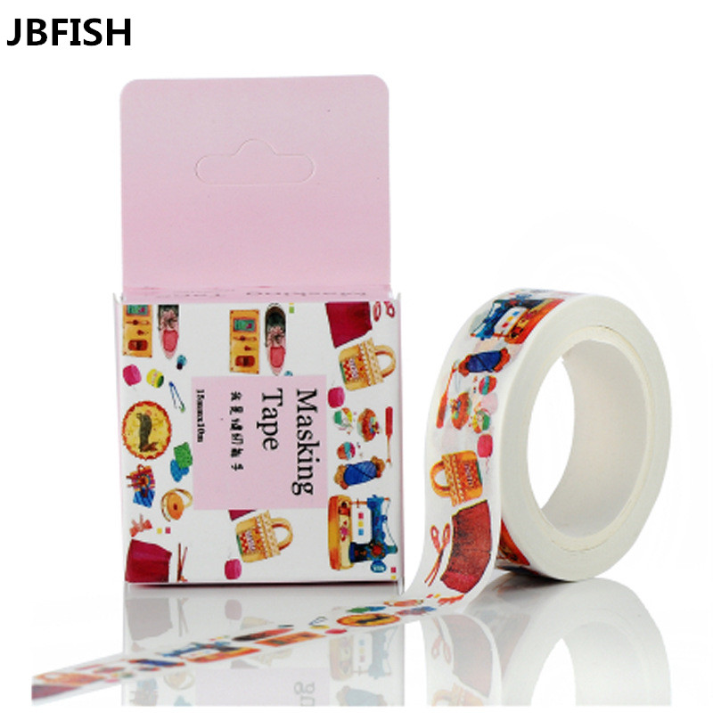 household products Pattern Japanese Washi Decorative Adhesive Tape DIY Masking Paper Tape Label Sticker Gift 3016(China (Mainland))