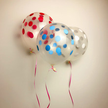 XXPWJ Free shipping 10pcs / lots transparent printing dot dot dither latex balloons birthday party balloon wedding arrangement(China)