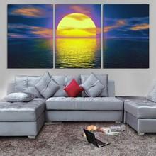 Three board, sunrise seaview picture print art painter in wall decoration modular canvas paintings