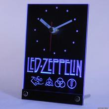tnc0141 LED Wall Zeppelin Rock n Roll Punk Table Desk 3D LED Clock(China)