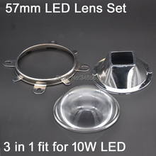 57mm Round Optical Glass LED Lens + 47mm Square Reflector Cup + 60MM Fixing Bracket 3 in 1 for 10W High Power Square LED Lamp