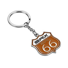1 Pcs Fashion SRX Route 66 Keychains Car Key ring Chrome Metal SRX ROUTE 66 Pendant Auto Car Accessories For Cadillac SRX