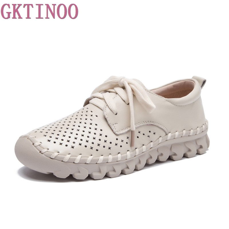Womens Handmade Shoes Genuine Leather Flat Lacing Mother Shoes Woman Loafers Soft Summer Autumn Casual Shoes Women Flats<br>