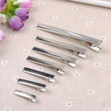50pcs  Single Prong Hair Clips Aligator Clip Teeth Metal Silver Bow Accessories