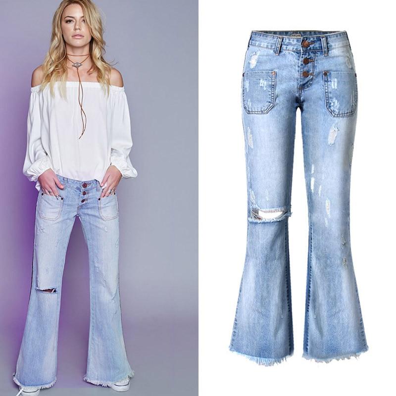 Loose Casual Vintage Knee Ripped Flare Jeans Woman Plus Size Low Waist Tassel Wide Leg Mom Jeans Holes Jeans Feminino ZIH023Îäåæäà è àêñåññóàðû<br><br>