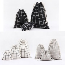 1pcs Men Plaids Pattern Drawstring Cotton Linen Travel Shaver Sunglass Storage Bag Underwear Organizer Coins keys Bags 49083