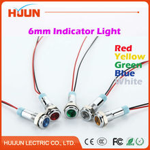 1pcs 6mm Waterproof Metal Flat Round Indicator LED Lamp Signal Pilot Light Colourful Red Yellow Blue Green White