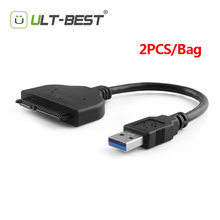 "ULT-Best 2PCS SATA USB 3.0 to Serial ATA 22pin Adapter Hard Disk Drive Converter Cable External for 2.5"" HDD/SSD 20CM(China)"