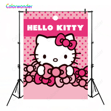 Colorwonder Hello Kitty Photography Backdrops Pink Cat Bowknots Birthday Banner